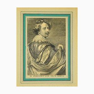 Antoon Van Dyck - Porträt von Lucas Vorsterman - Original Radierung - 1740 Ca