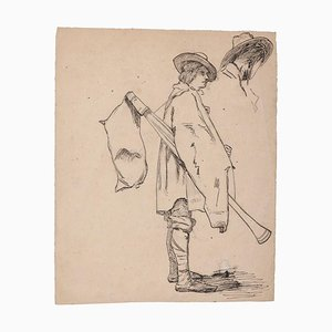 Unknown - Musician - Original Pencil and Pen on Paper - 19th Century