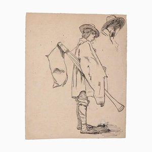 Unknown - Musiker - Original Bleistift und Stift auf Papier - 19. Jahrhundert