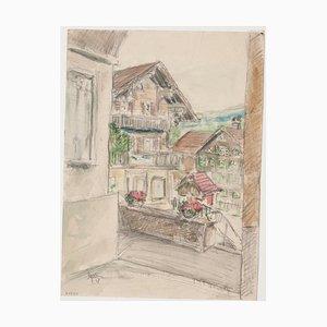 Werner Epstein - Bergdorf - Original Bleistift und Pastell Zeichnung - 1957