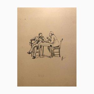 Florisa Cordova - Im Café - Original Tintenzeichnung - Mitte 20. Jahrhundert