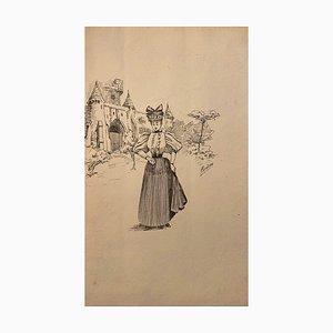 Florisa Cordova - the Castellan - Originales Tintenzeichnung - Mitte des 20. Jahrhunderts