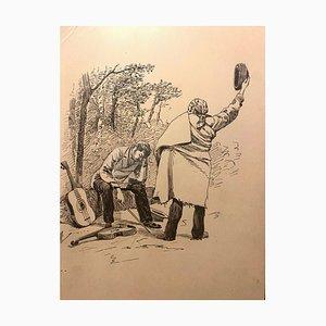 Florisa Cordova - Musikspieler - Originales Tintenzeichnung - Mitte des 20. Jahrhunderts