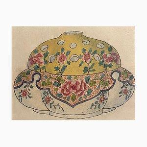 Desconocido - Jarrón de porcelana - Tinta china original y acuarela - década de 1890