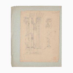 Unknown - Architectural Study - Original Bleistiftzeichnung auf Papier - 19. Jahrhundert