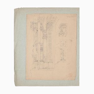 Unknown - Architectural Study - Original Pencil Drawing on Paper - 19th Century