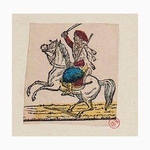 Unknown - Arab Knight - Originale handkolorierte Radierung auf Papier - 18. Jahrhundert