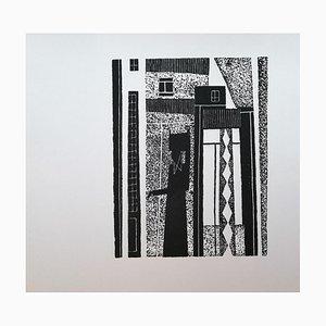 Luigi Spacal - Karst Hausfrau - Original Holzschnitt auf Karton - 1970er Jahre