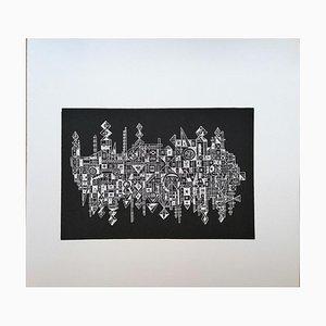 Luigi Spacal - the City on the Mirror - Original Holzschnitt Druck - 1970er