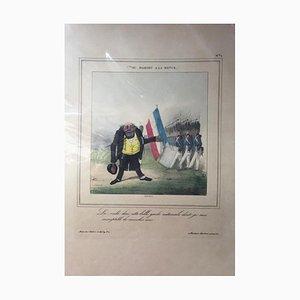 Charles Joseph Traviès - M. Mahieu A La Revue - Originale Lithographie - 19. Jahrhundert
