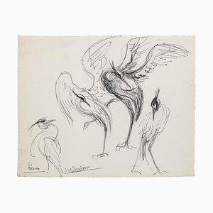 Inconnu - Oiseau - Dessin Original Pen - Mid-20th Century