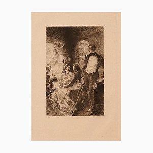 Ricardo De Los Rios - Gallant Conversation - Original Etching - 1880 Ca.