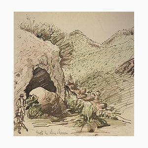 Unknown - Caves - Original China Ink and Watercolor- Late 19th Century