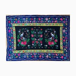 Handgewebter rumänischer Teppich mit Störchen & floralem Dekor