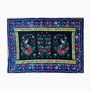 Romanian Handwoven Rug With Storks and Floral Decor