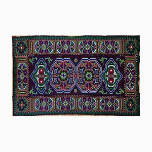 Handwoven Geometrical Rug with Green and Blue Accents