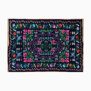 Handgewebter Sommerlicher Floraler Teppich mit Bunten Blumen