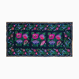 Romanian Handwoven Rug with Colorful Floral Design