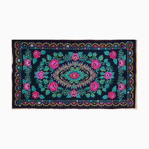 Romanian Handwoven Rug with Floral Design