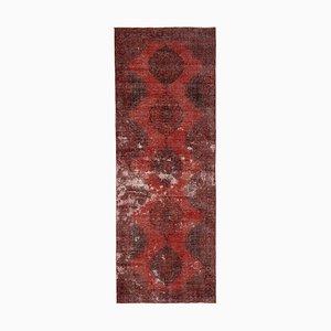 Vintage Turkish Red Overdyed Runner Rug