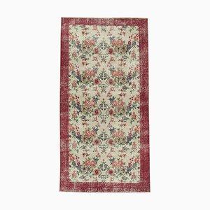 Vintage Beigefarbener Überfärbter Teppich