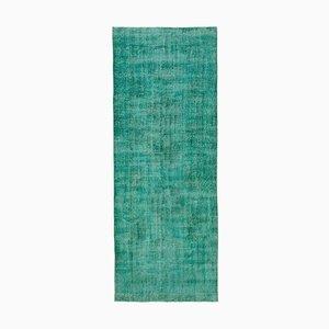 Vintage Turkish Turquoise Overdyed Runner Rug