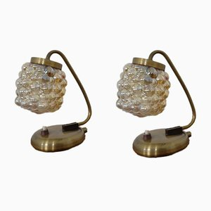 Bernsteingelbe Sideglas Tischlampen von Richard Essig für Saku Leuchten, 1960er, 2er Set