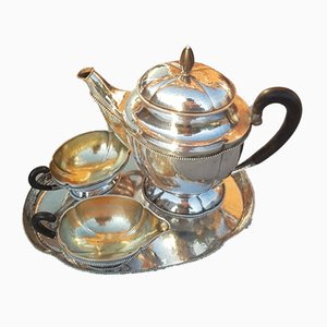 Silver Coffee Set with Tray, Creamer and Sugar Bowl, 1920s, Set of 4