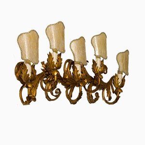 Wrought Iron Wall Light Gilded in Gold, 1950s