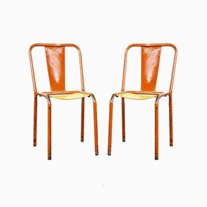 Französische Mid-Century Tolix T4 Metall Esszimmerstühle, 2er Set