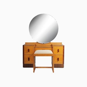 Art Deco Dressing Table and Stool in Birds Eye Maple, 1930s