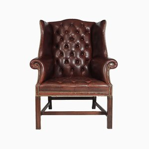 Georgian Style Buttoned Leather Wing Chair, 1960s