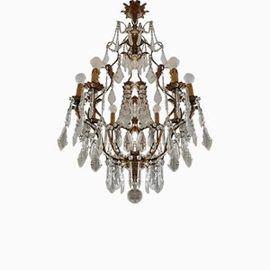 Antique Crystal and Metal Chandeliers, Set of 2