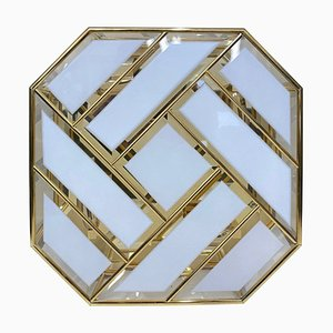 Mid-Century Italian Brass and Glass Ceiling Light, 1970s