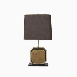 Vintage Geätzte 23CT Gold Tischlampe von Georges Mathias, Belgien