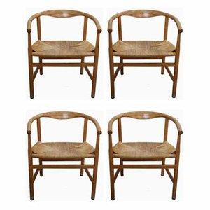 Oak Model PP201 Armchairs by Hans Wegner for PP Møbler, 1960s, Set of 4