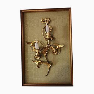 Mid-Century Wrought Iron Sconce with Gold Leaves
