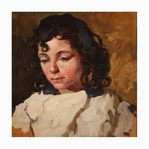 Italienisches Gemälde Portrait eines Mädchens, 1930