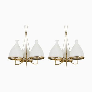 Brass and White Glass Chandeliers from Stilnovo, 1950s, Set of 2