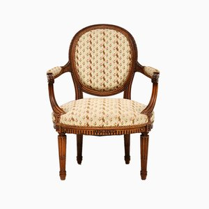 Antique French Carved Walnut Salon Armchair
