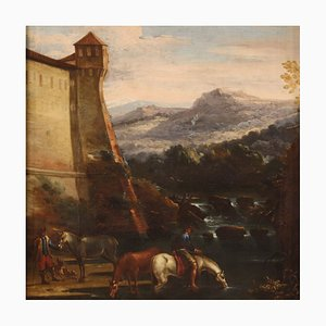 Antique Italian Landscape Painting, 17th Century