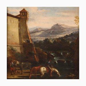 Pintura de paisaje italiana antigua, siglo XVII