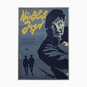 Vintage Night Hunting Filmposter, Defa Progress Film, Berlin, 1958