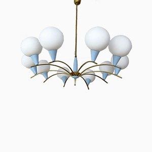 Großer Mid-Century Messing & Opalglas Sputnik Kronleuchter von Stilnovo, 1950er