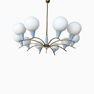 Large Mid-Century Brass and Opaline Glass Sputnik Chandelier from Stilnovo, 1950s