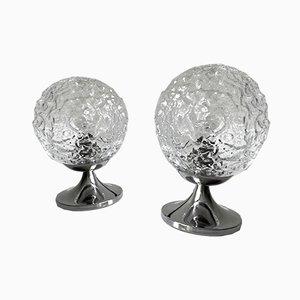 Bubble Glas und Chrom Tischlampen von Doria Leuchten, 1970er, 2er Set
