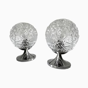 Bubble Glass and Chrome Table Lamps from Doria Leuchten, 1970s, Set of 2