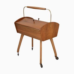 Sewing Cart in Nut Wood, 1950s