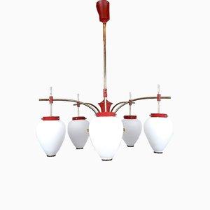 Red Pendant Lamp in Style of Stilnovo, 1960s