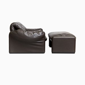 Leather Maralunga Lounge Chair and Ottoman by Vico Magistretti for Cassina, 1980s, Set of 2